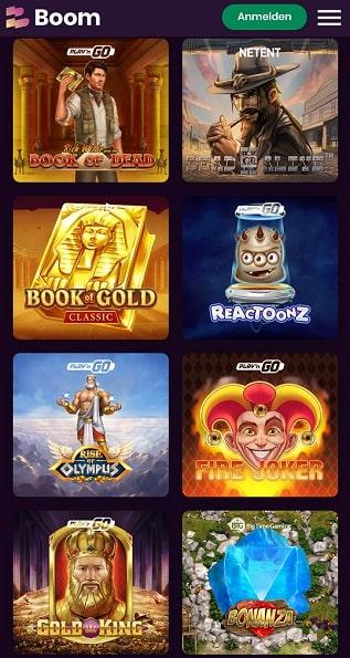 Boom Casino Spielangebot