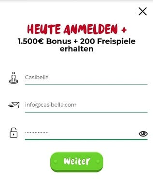 Registrierung im Casoola Casino
