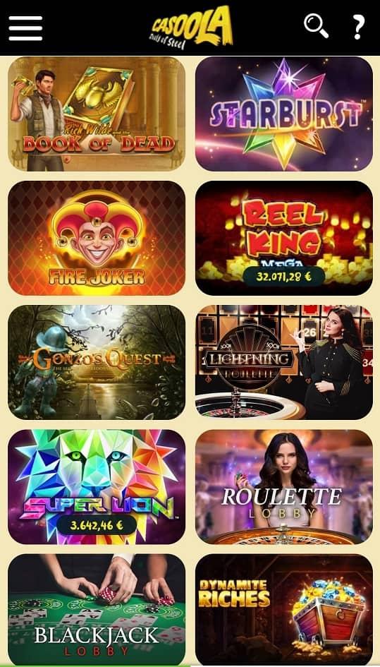 Casoola Casino Spielangebot