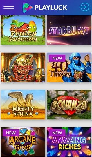 Playluck Casino Spiele