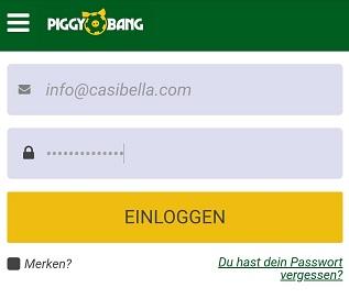 piggy bang login anmeldung