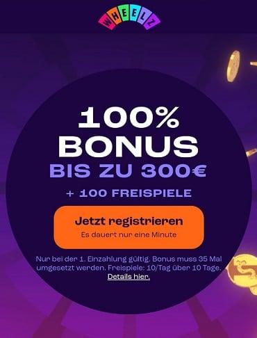 Wheelz Casino Bonus & Freispiele