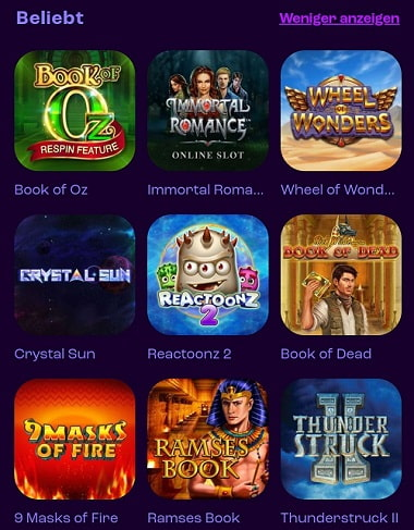 Wheelz Casino Spiele