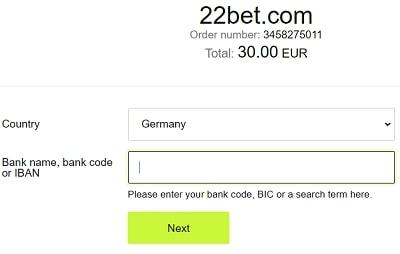 22Bet Einzahlung per Banküberweisung