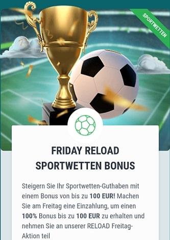 22bet Sportwetten Reload Bonus