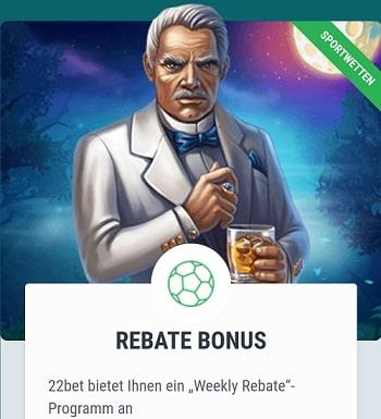 22bet rebate bonus